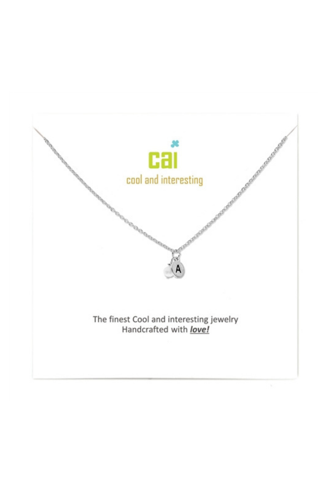 Cool and Interesting Silver mini initial & pearl necklace - Main Image