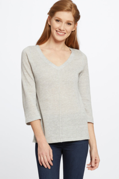 Nic + Zoe Silver Mix V-neck knit top with on-trend bow at back neckline. - Product List Image