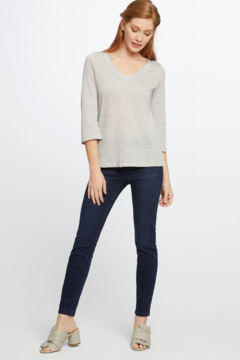 Nic + Zoe Silver Mix V-neck knit top with on-trend bow at back neckline. - Alternate List Image