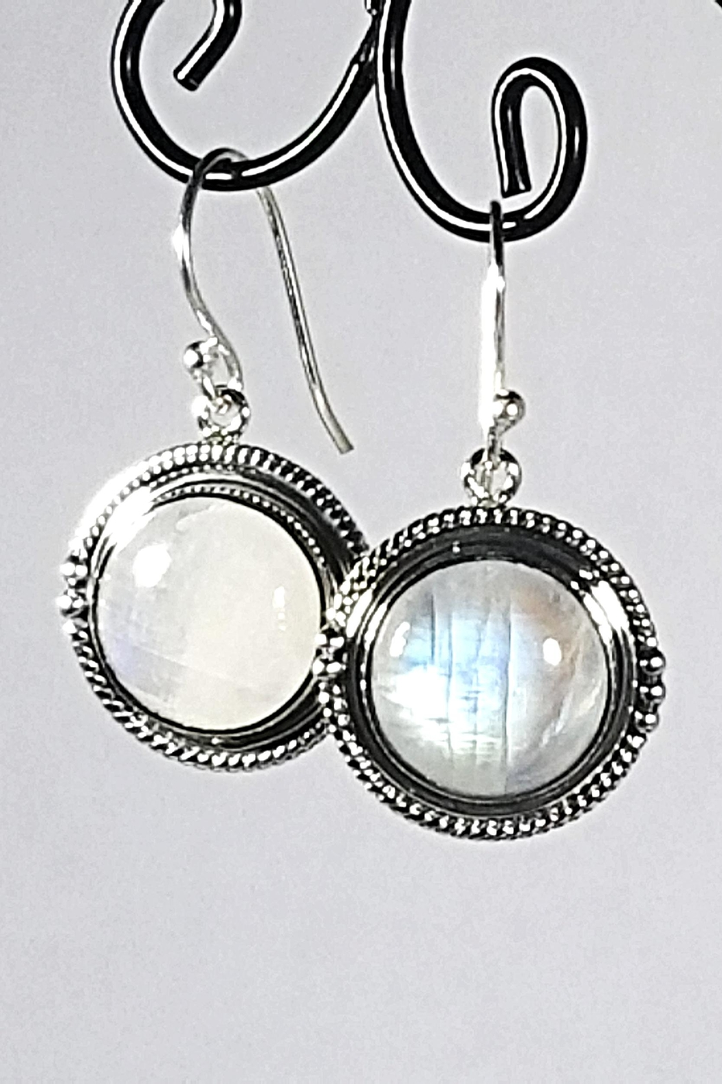Italian Ice Silver Moonstone Earrings - Front Cropped Image