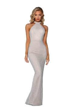 PORTIA AND SCARLETT Silver & Nude Beaded Halter Top Long Formal Dress - Product List Image