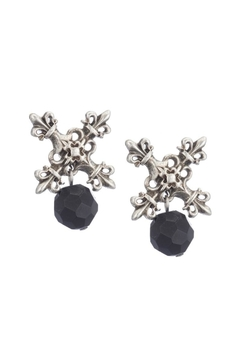 French Kande Silver Onyx Earring - Alternate List Image
