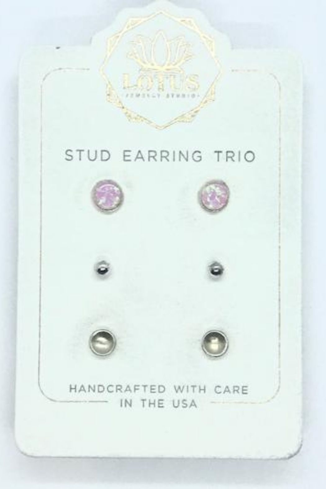 Lotus Jewelry Studio Silver Opal Trio Carded Stud Earrings - Front Full Image