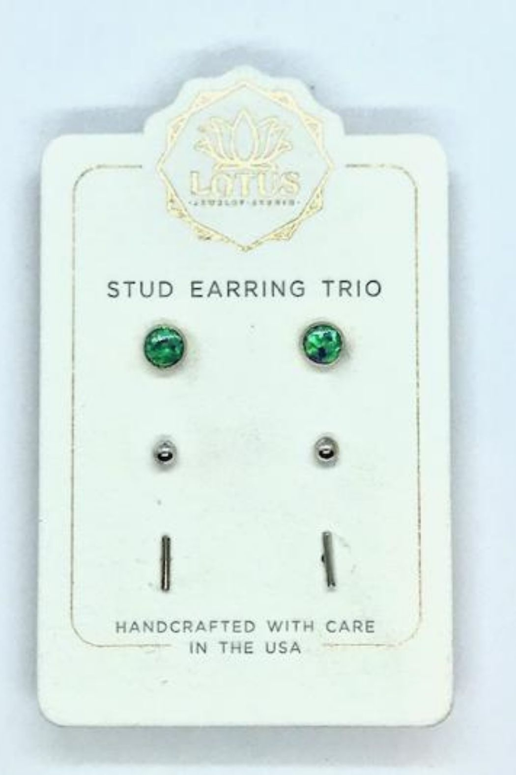Lotus Jewelry Studio Silver Opal Trio Carded Stud Earrings - Main Image