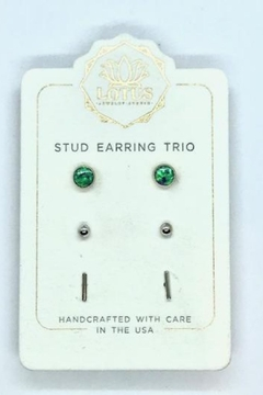 Shoptiques Product: Silver Opal Trio Carded Stud Earrings