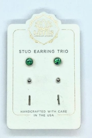 Lotus Jewelry Studio Silver Opal Trio Carded Stud Earrings - Product Mini Image