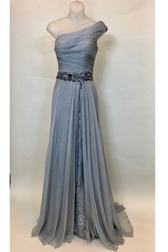 Mac Duggal SILVER OS PLEATED BODICE DRESS - Product List Image