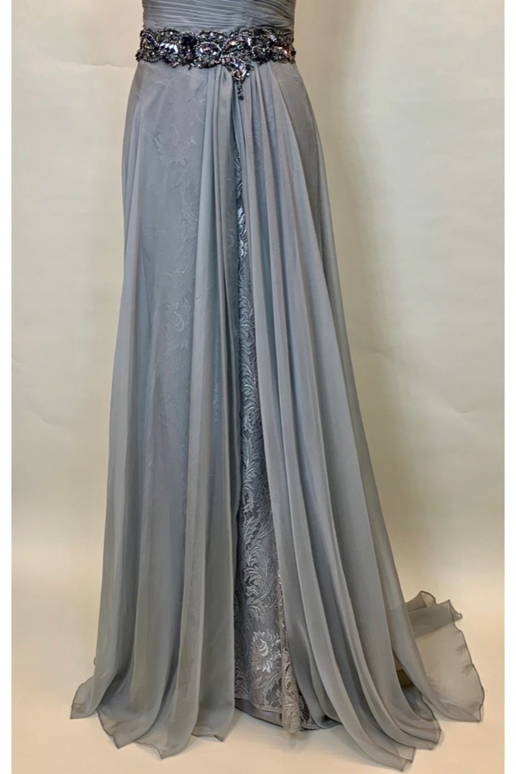 Mac Duggal SILVER OS PLEATED BODICE DRESS - Side Cropped Image