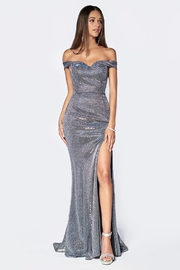 Cinderella Divine Silver Patterned Metallic Off Shoulder Long Formal Dress - Product Mini Image