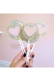 The Birds Nest SILVER & PINK HEART LOLLIPOPS - Product Mini Image