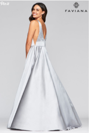 Faviana Silver Satin Gown - Front full body