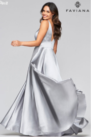 Faviana Silver Satin Gown - Side cropped