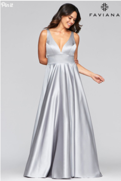 Faviana Silver Satin Gown - Product List Image