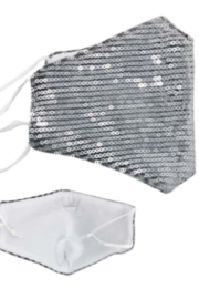 KIMBALS Silver Sequin Face Mask - Product Mini Image