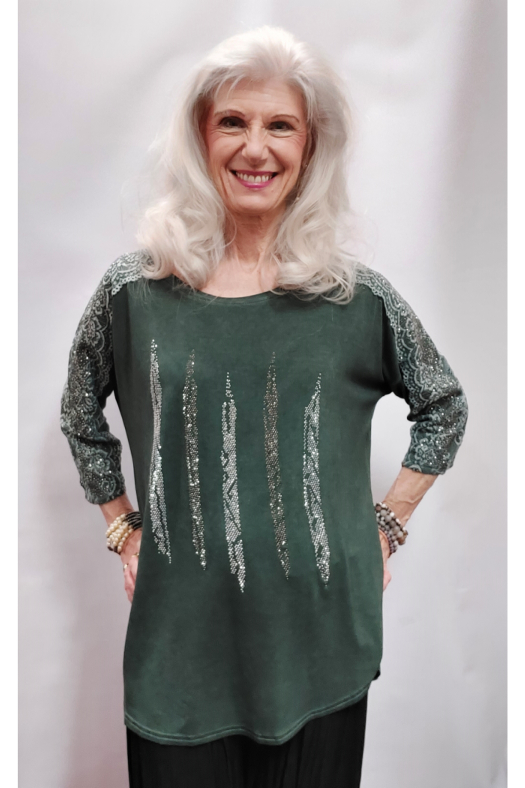 Apparel Love Silver Stone Embellished Olive Top - Main Image