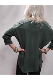 Apparel Love Silver Stone Embellished Olive Top - Side cropped