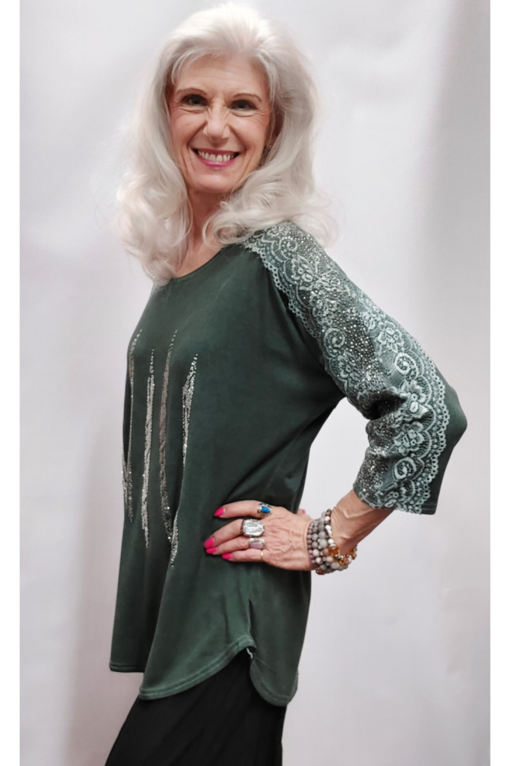 Apparel Love Silver Stone Embellished Olive Top - Front Full Image