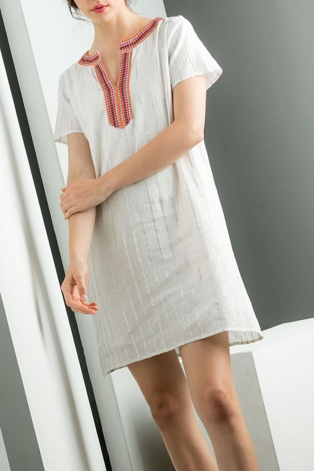 THML Clothing Silver Stripes Dress - Main Image