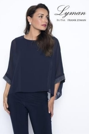 Frank Lyman  Silver Studded Sleeve Top, Navy - Product Mini Image