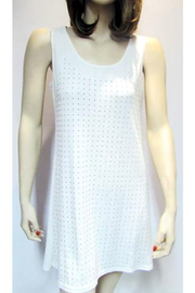 Very Moda Silver Studded White Tunic Dress - Product Mini Image