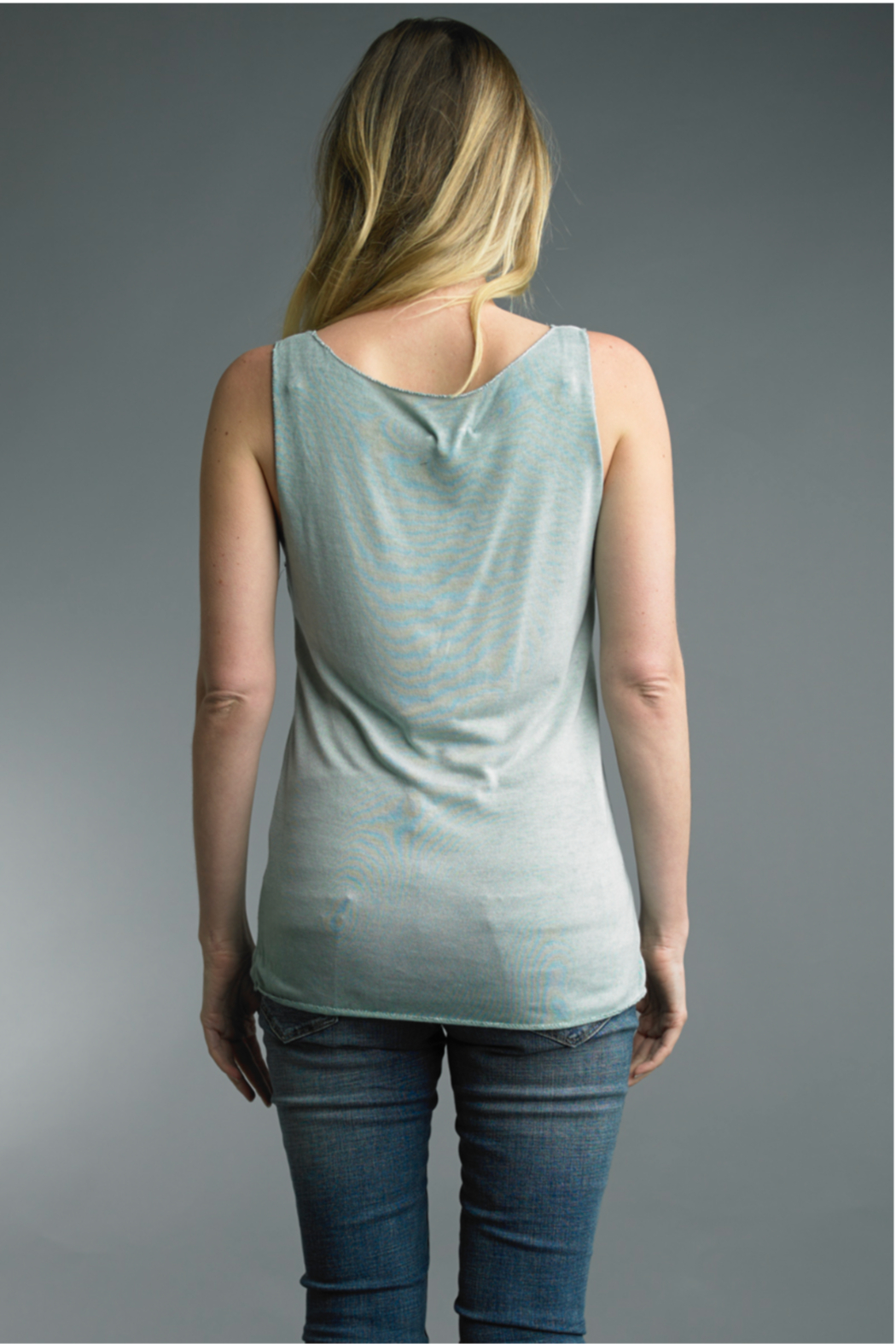 Tempo Paris  Silver Trimmed Cotton Tank - Front Full Image