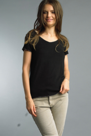 Tempo Paris Silver Trimmed Tee - Product Mini Image