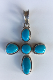 Beth Friedman Silver Turquoise Cross - Product Mini Image