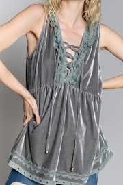 POL  Silver velvet sleeveless lace up front tank top - Product Mini Image