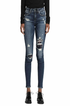 Silver Jeans Co. Avery-Skinny Embroidery-Distressed Jeans - Product List Image