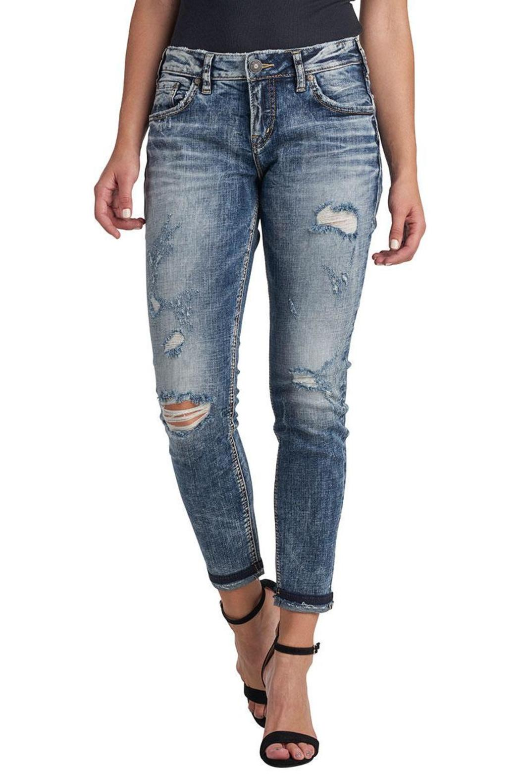 Silver Jeans Co. Distressed Crop Jeans - Main Image