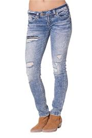 Silver Jeans Co. Distressed Skinny Jeans - Product Mini Image
