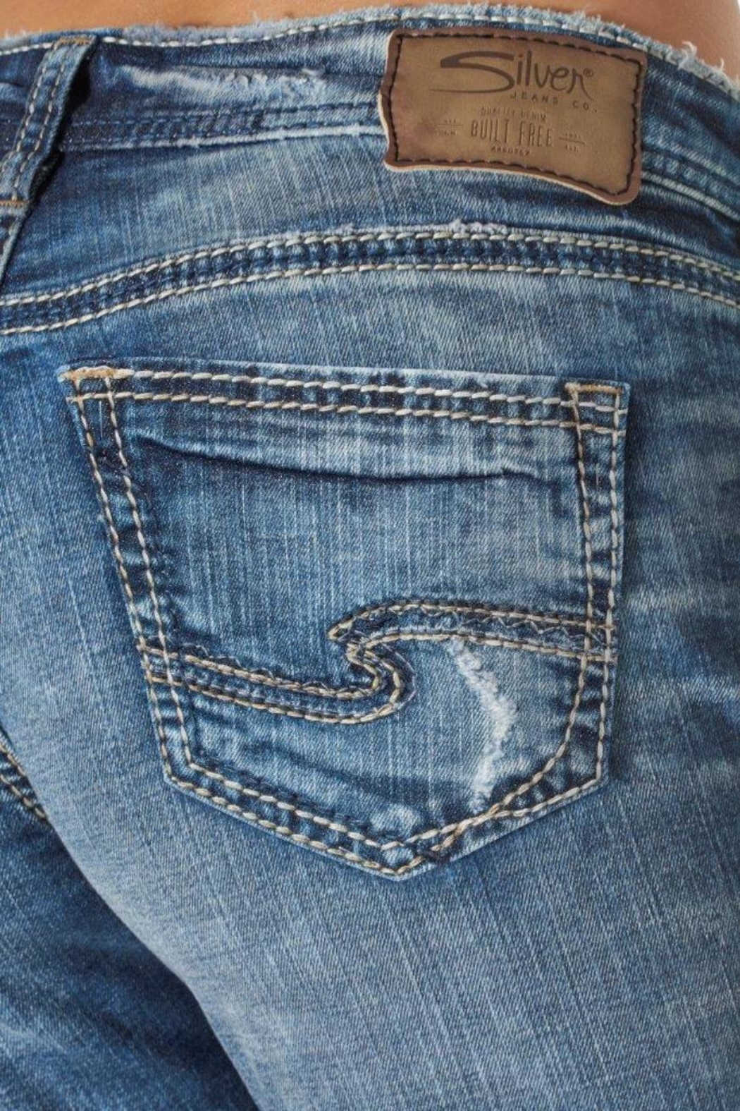 Silver Jeans Co. Girlfriend Super-Stretch Skinny - Back Cropped Image
