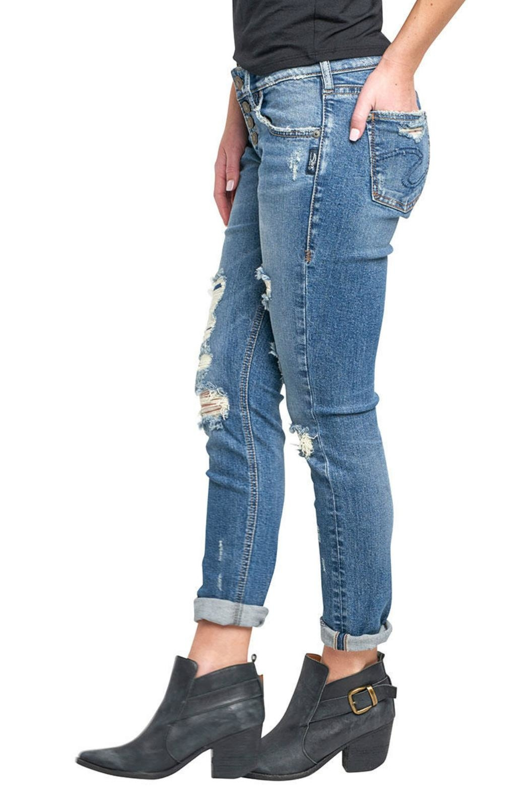 Silver Jeans Co. Kenni Girlfriend Jeans - Side Cropped Image
