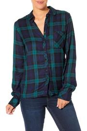 Silver Jeans Co. Pauline Navy Flannel Top - Product Mini Image