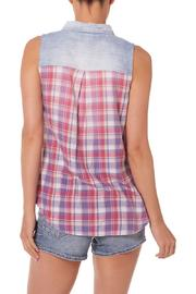 Silver Jeans Co. Plaid-Back Chambray Top - Front full body