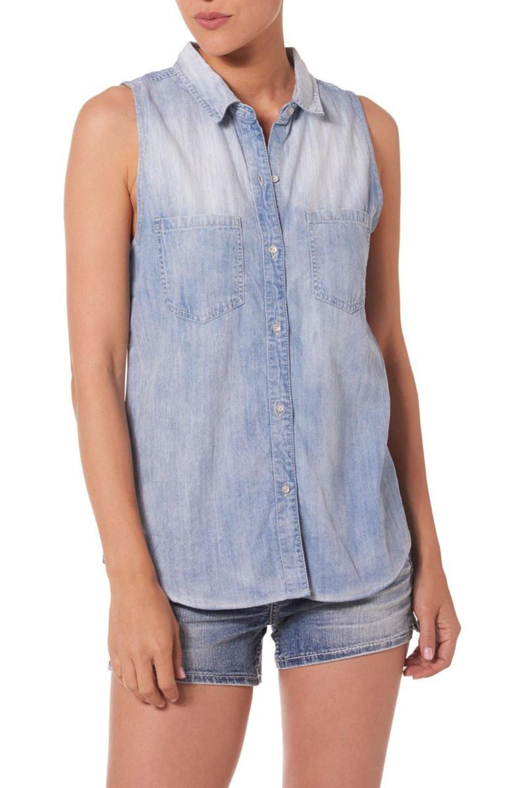 Silver Jeans Co. Plaid-Back Chambray Top - Front Cropped Image