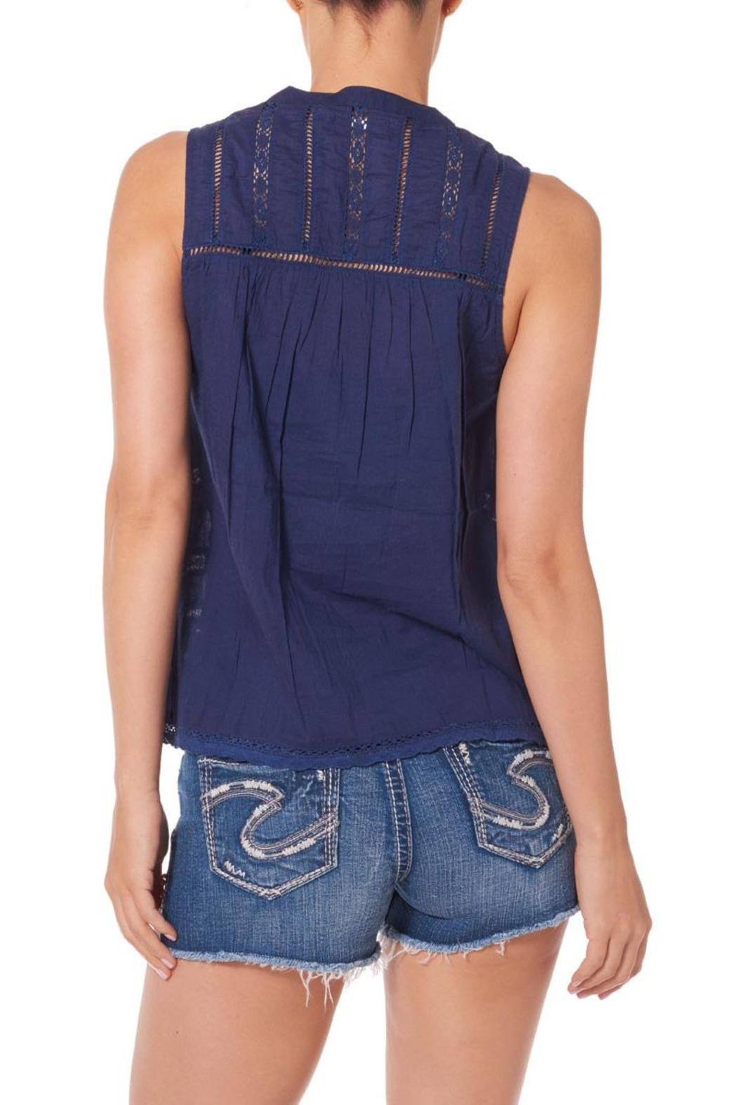 Silver Jeans Co. Crochet Lace Tank Navy - Front Cropped Image