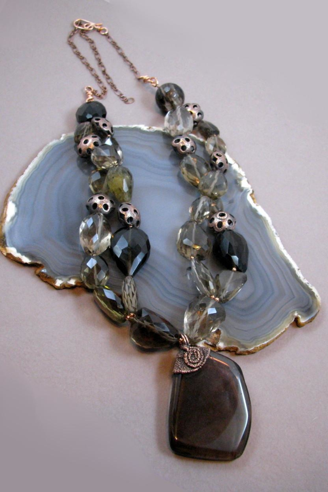 Silver Serpent Studio Smokey Quartz Necklace - Front Full Image
