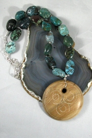 Silver Serpent Studio Turquoise Wood Necklace - Front cropped