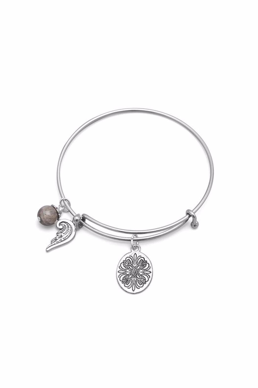 Silver Stars Collection Angel Wing Charm Bracelet Front Full Image