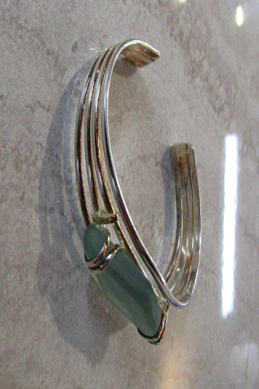 KIMBALS SILVERPLATE AND SEAGLASS CUFF BRACELET - Front Full Image