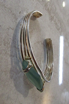 KIMBALS SILVERPLATE AND SEAGLASS CUFF BRACELET - Alternate List Image