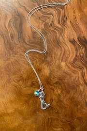 Fox Silvertone Mermaid Charm Necklace - Product Mini Image
