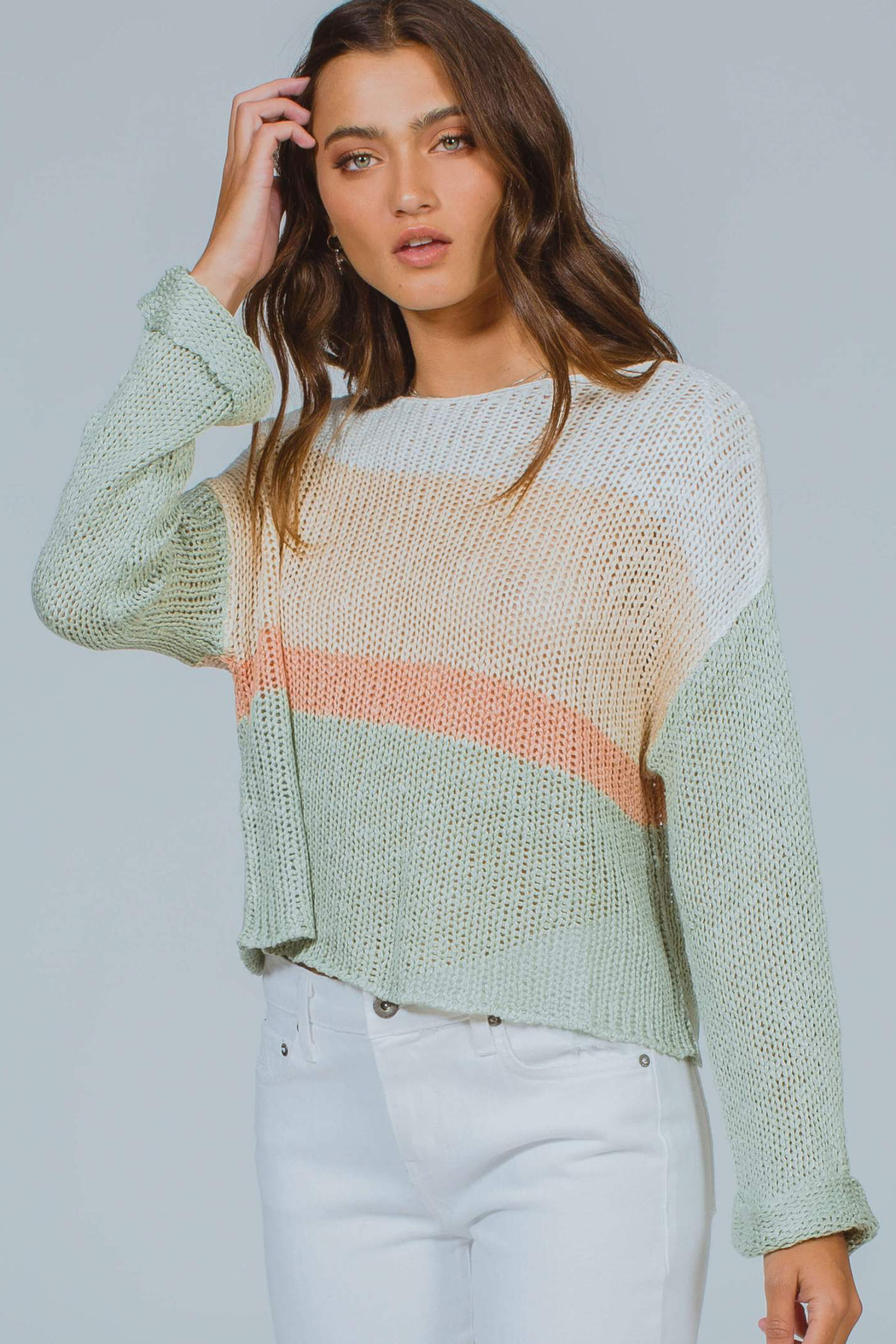 MinkPink Simone Color Block Knit Sweater - Side Cropped Image