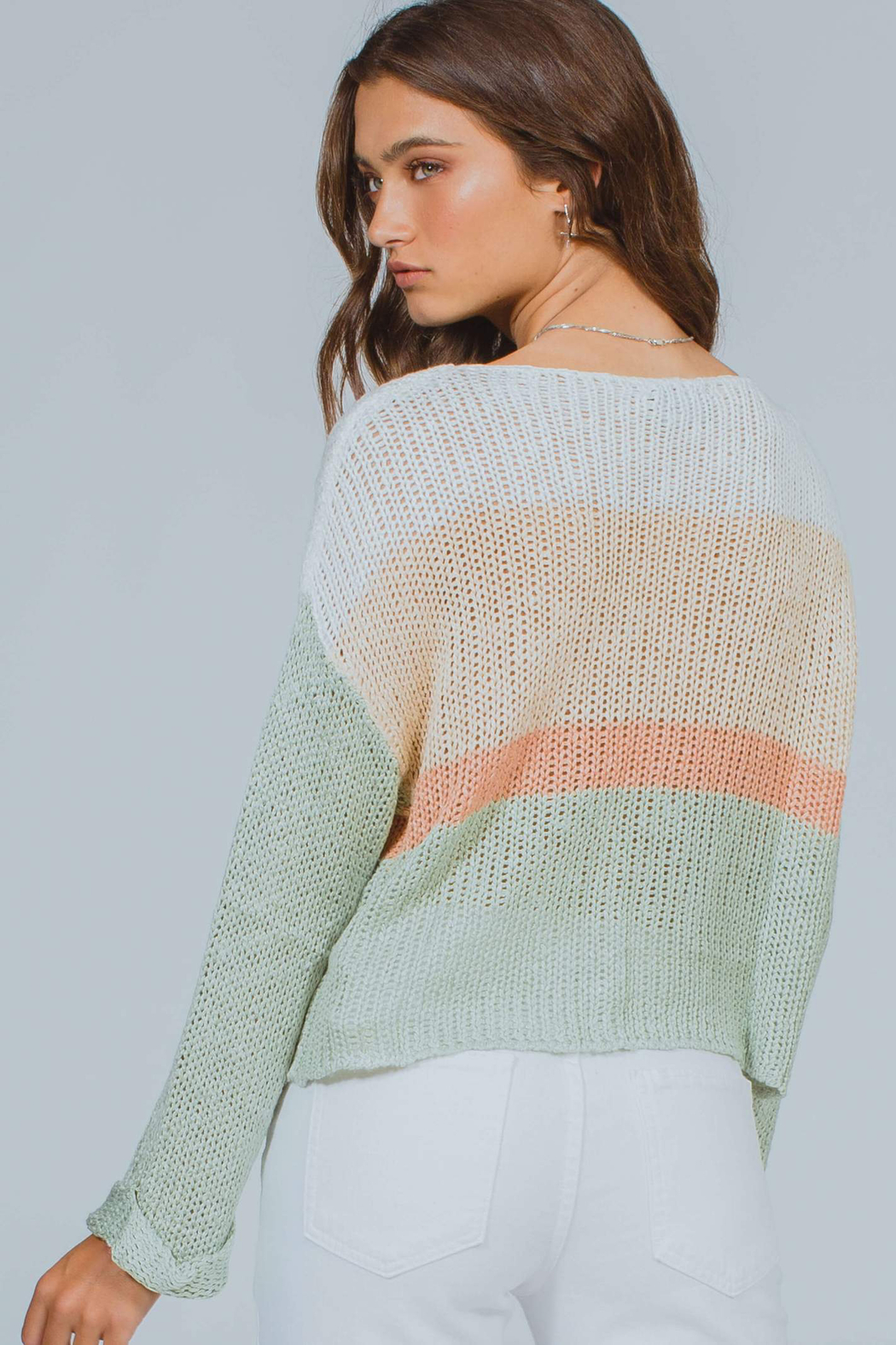 MinkPink Simone Color Block Knit Sweater - Back Cropped Image