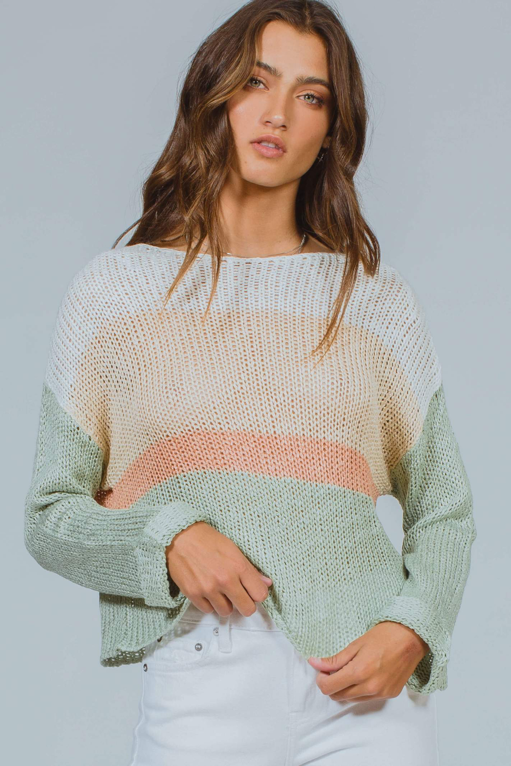 MinkPink Simone Color Block Knit Sweater - Front Full Image