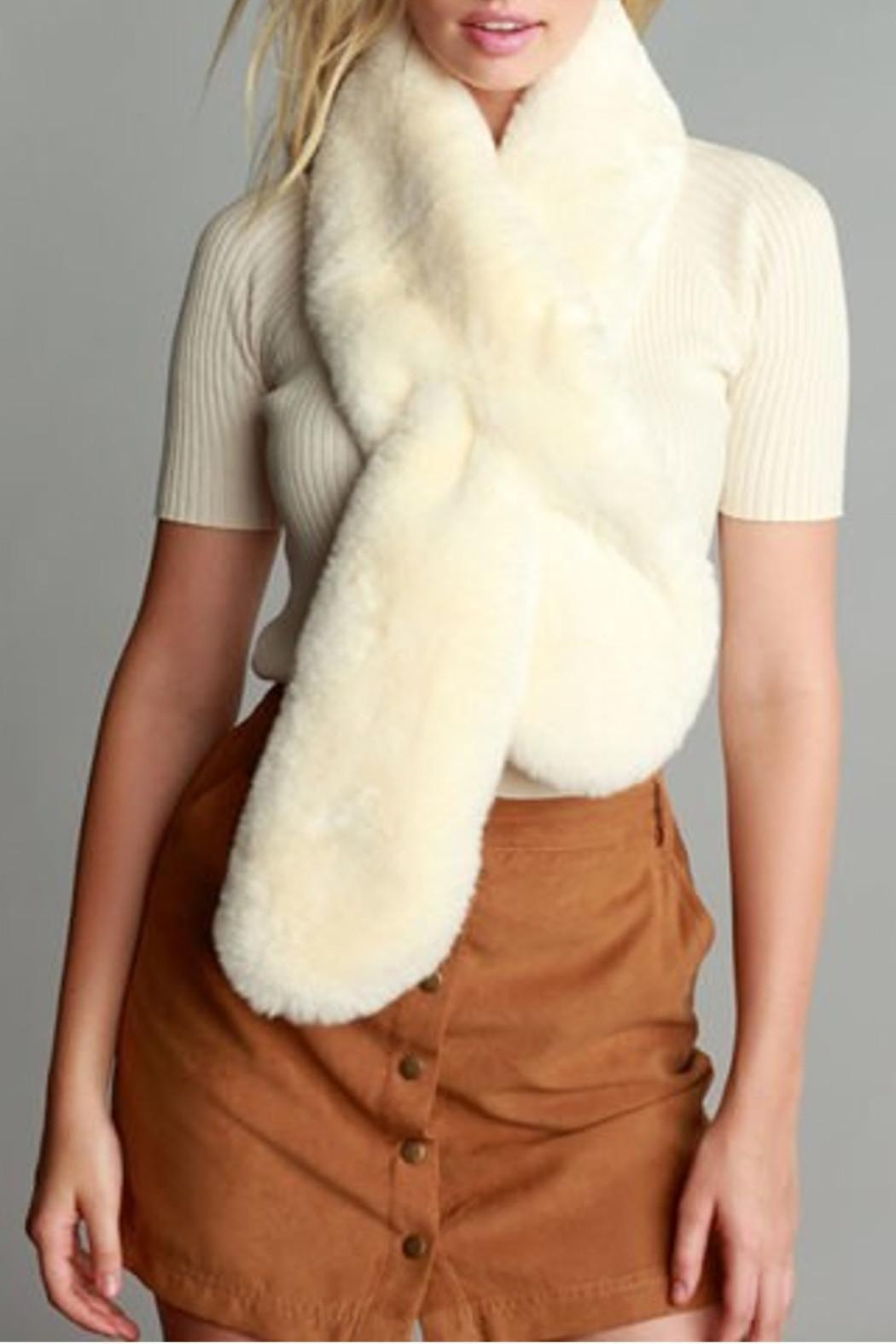 Simonetta Ivory Fur Scarf - Front Cropped Image