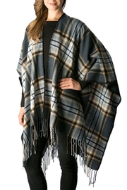 Simonetta Plaid Fringe Shawl - Product Mini Image
