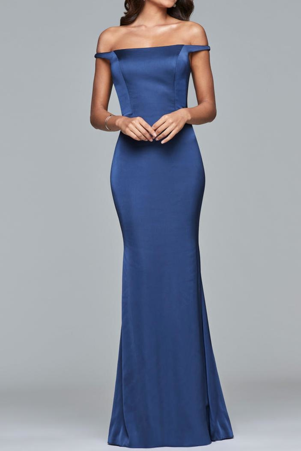 Faviana Simple Off-Shoulder Gown - Main Image