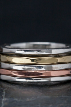 Baizaar Simple Sterling Silver with Three Hammered Mixed Metal Bands - Alternate List Image
